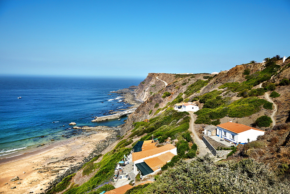 View towards the beach, Praia da Arrifana, Aljezur, Costa Vicentina, Algarve, Portugal