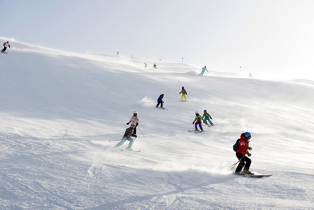 skier school, Warth-Schroecken ski area, Bregenz district, Vorarlberg, Austria