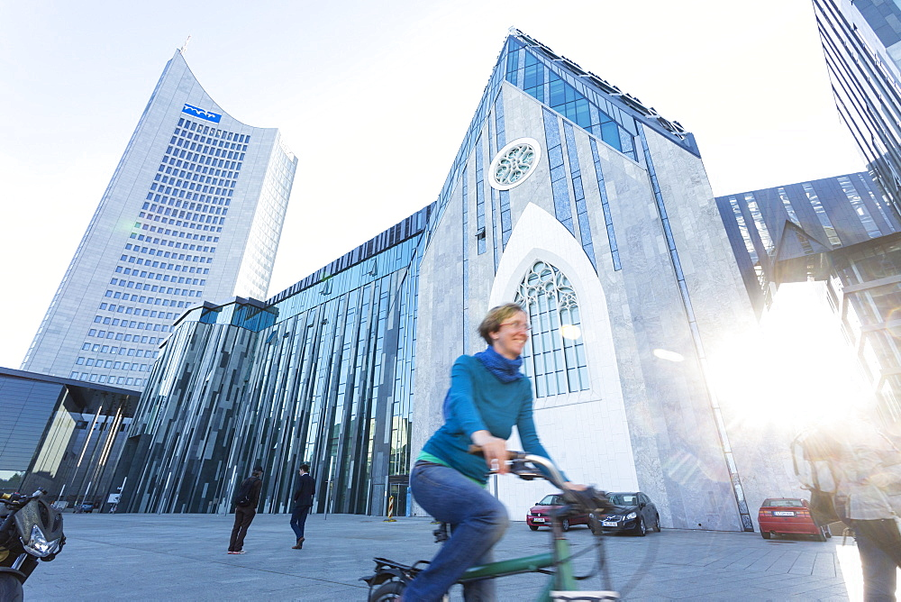 Paulineum, assembly hall and church of University of Leipzig, City Hochhaus, Panorama Tower, students on their bicycles, Augustus Plaza, Augustus Square, Leipzig, Saxony, Germany, Europe