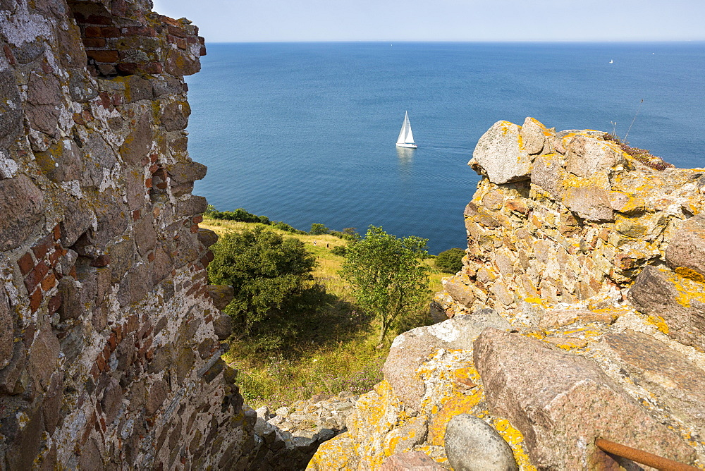 view from the castle ruins and medieval fortification, Hammershus, middle ages, Baltic sea, Bornholm, Denmark, Europe