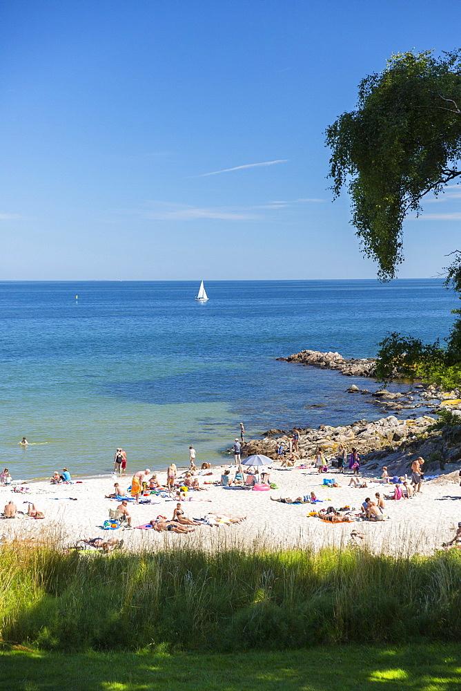 People on the beach sunbathing, Sandkas beach, Summer, Baltic sea, Bornholm, south of Sandvig and Allinge, east coast, Denmark, Europe