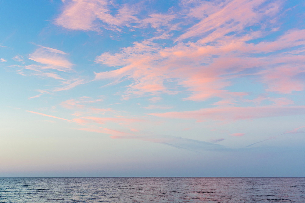 sea and clouds in the evening light at sunset, Baltic sea, Bornholm, near Gudhjem, Denmark, Europe