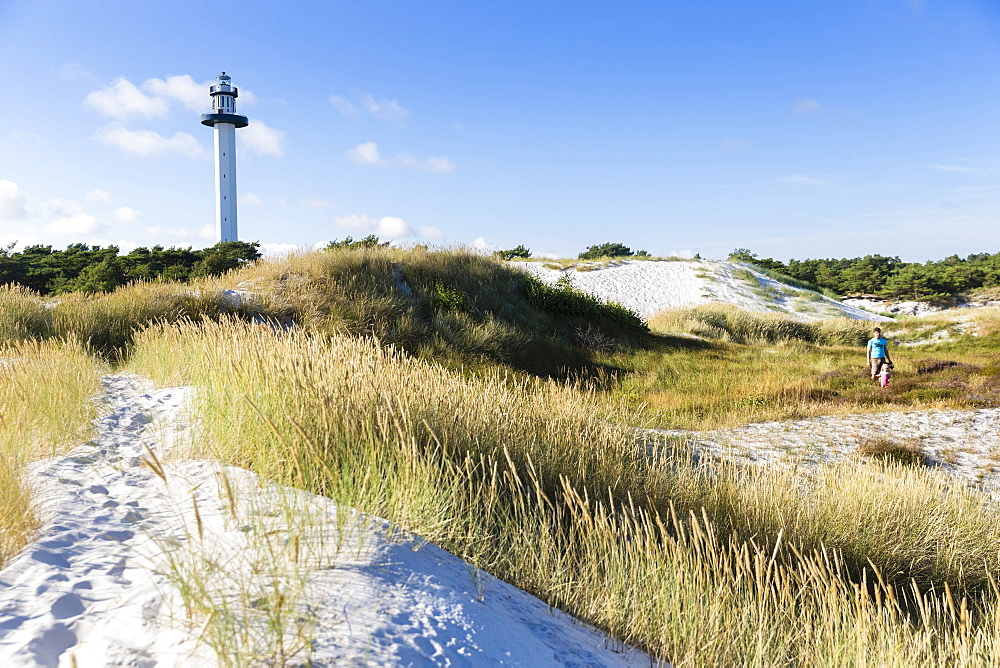 lighthouse at Dueodde dunes, Summer, Baltic sea, Bornholm, Dueodde, Denmark, Europe