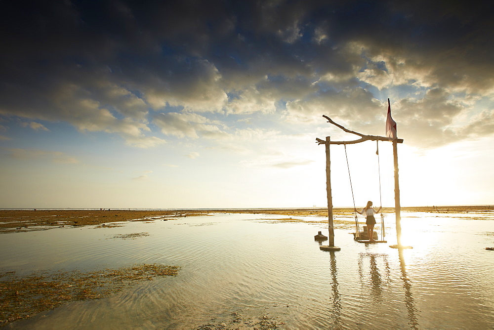Beach swing at low tide, Gili Trawangan, Lombok, Indonesia