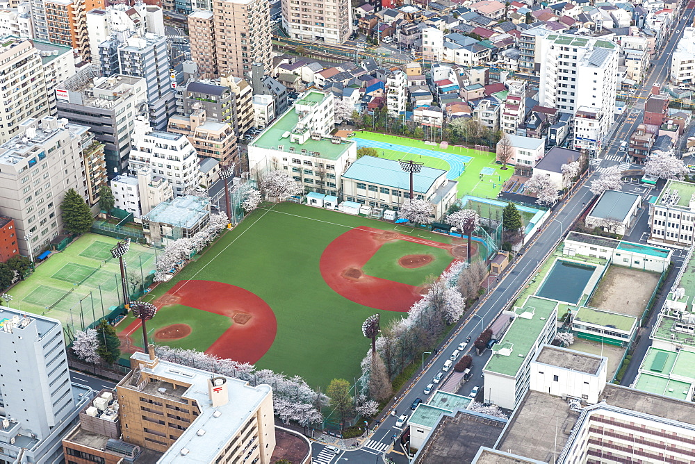 Baseball and sports field seen from Sunshine City Ikebukuro, Toshima-ku, Tokyo, Japan