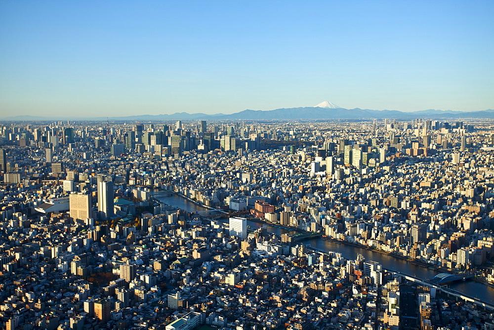 Tokyo with Sumida River and Mt. Fuji seen from Skytree, Sumida-ku, Tokyo, Japan