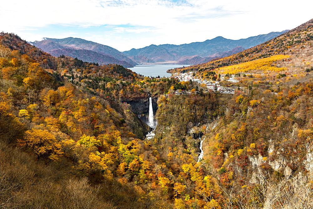 Nikko Kegon Falls and Lake Chuzenji colorful in autumn, Nikko, Tochigi Prefecture, Japan