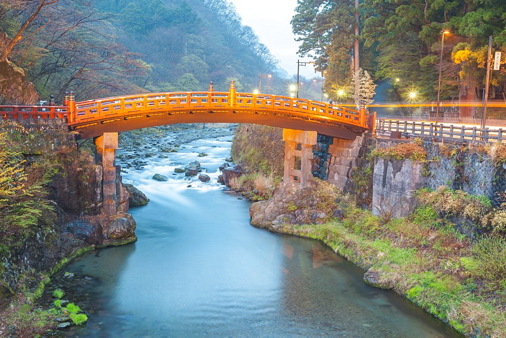 Wooden red bridge named Shinkyo over river Daiya in Nikko, Tochigi Prefecture, Japan