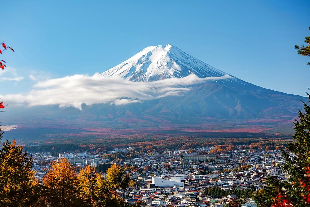 Mt. Fuji in autumn seen from Arakurayama Sengen Park, Fujiyoshida, Yamanashi Prefecture, Japan