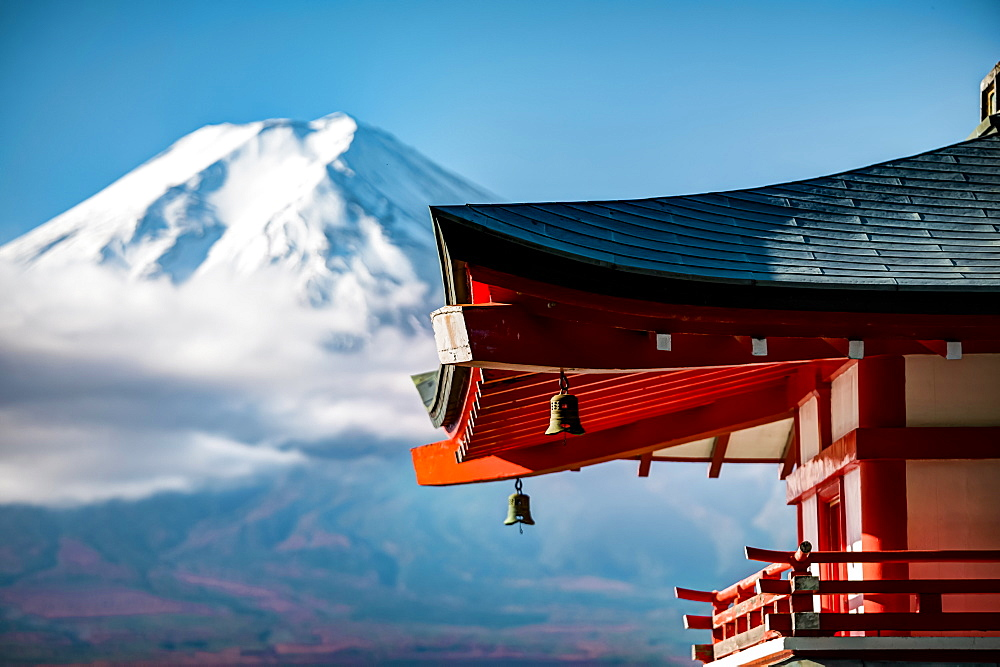 Close-up of Chureito Pagoda with Mt. Fuji out of focus in background, Fujiyoshida, Yamanashi Prefecture, Japan