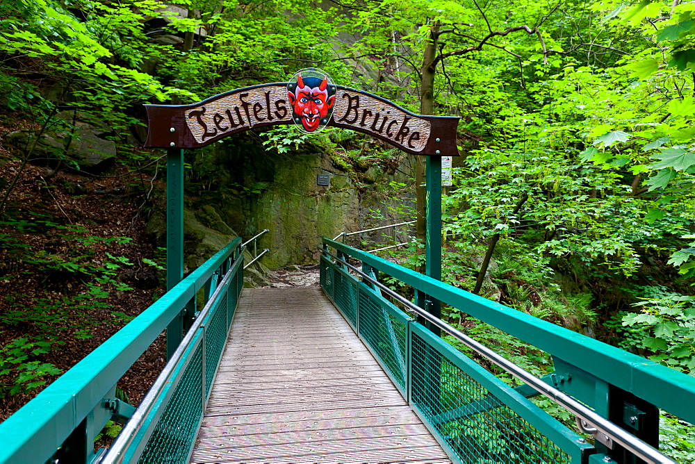 Teufelsbruecke, Bodetal, hiking trail, Harz, summer, valley, forest, Saxony-Anhalt, Germany
