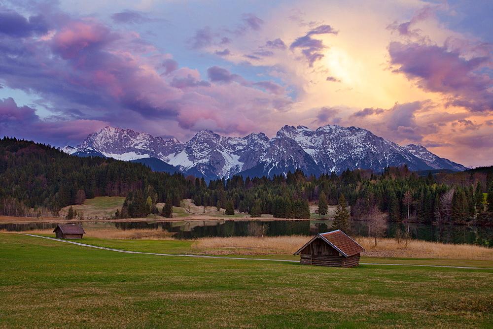 Sunset, Geroldsee, Wagenbruechsee, Alps, Gerolder Alm, Bavaria, Germany