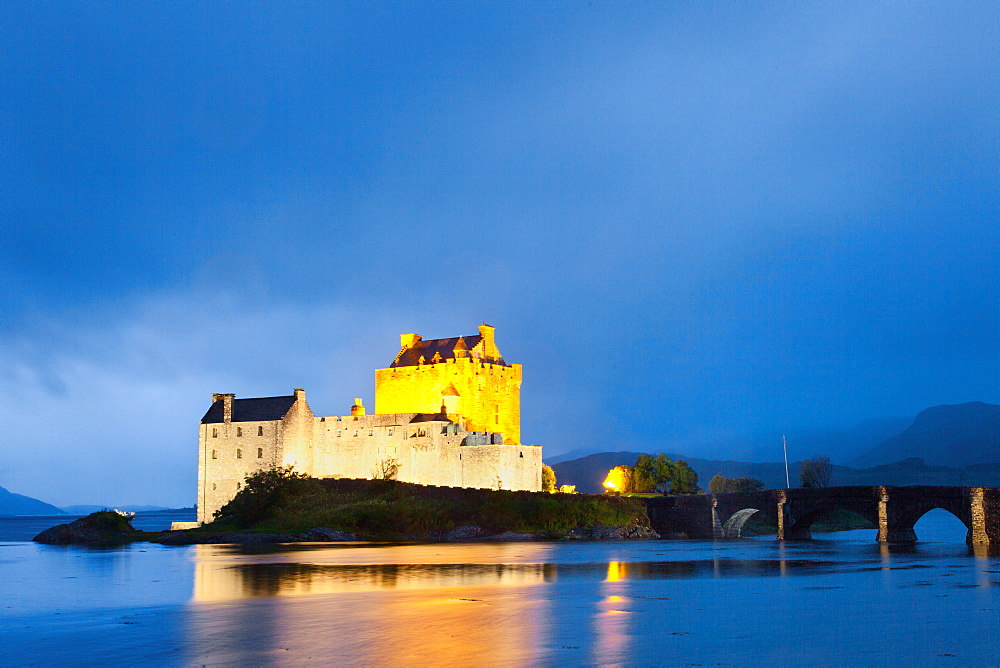 Eilean Donan Castle, Blue Hour, Bridge, Castle, Castle, Highlands, Scotland