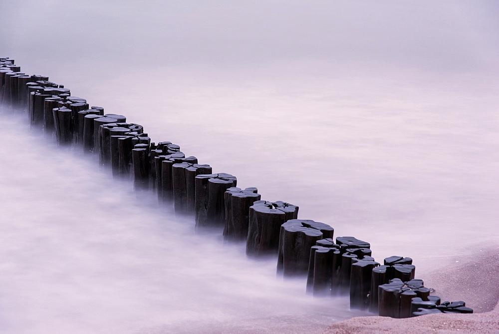 Wave Breaker, Sunset, Beach, Long Exposure, Baltic Sea, Darss, Zingst, Germany