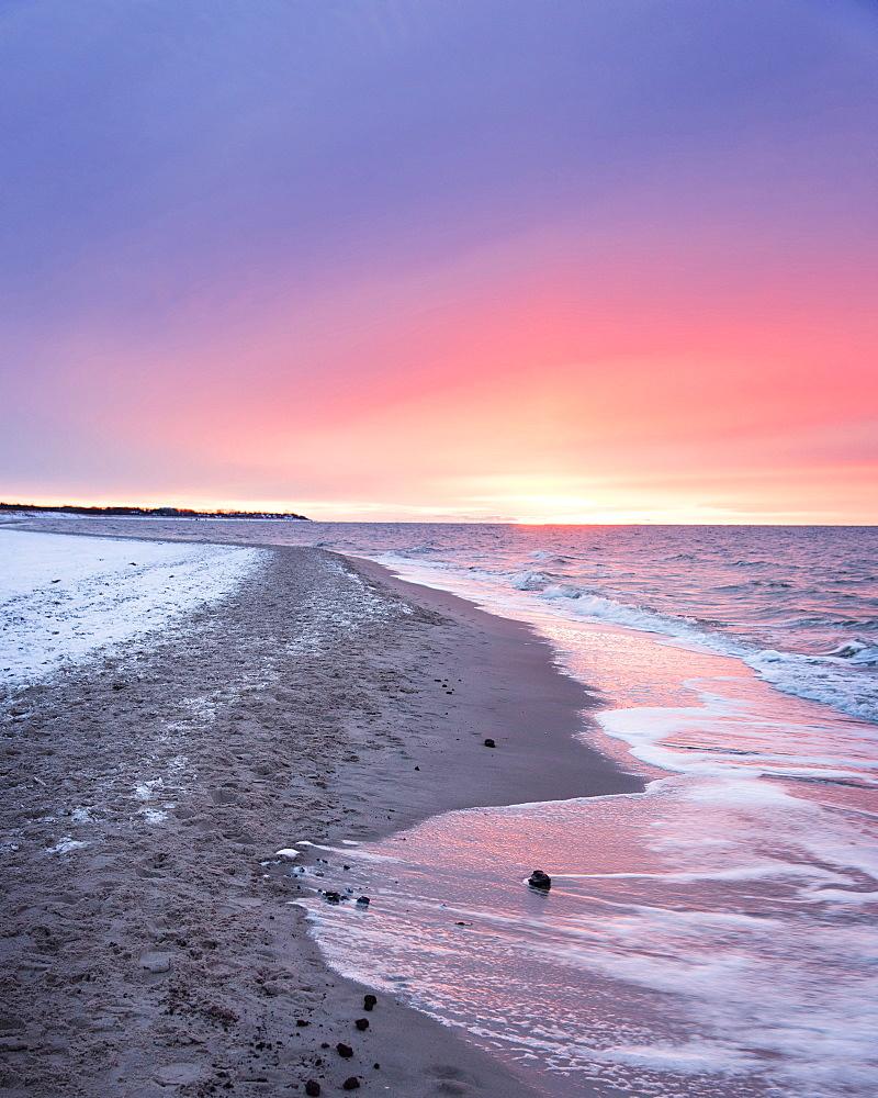 Sunset, Beach, Baltic Sea, Winter, Darss, National Park, Bodden, Germany