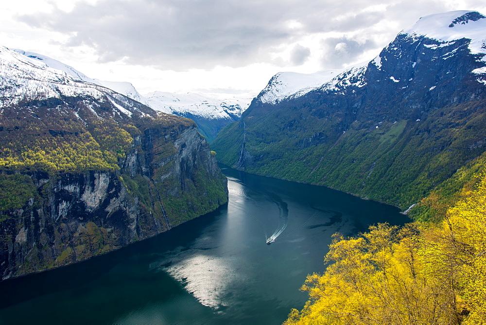 Geirangerfjord, Ship, Fjord, Mountains, Romsdal, Norway, Europe