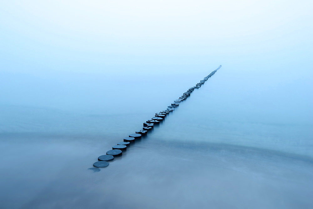 Wave Breaker, Fog, Coast, Baltic Sea, Mecklenburg, Germany, Europe