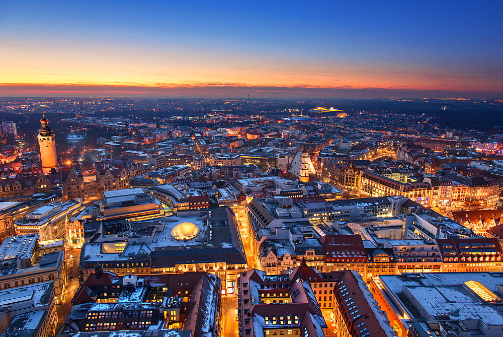 Architecture, Exterior View, From Above, Blue Hour, Saxony, Leipzig, Germany, Europe