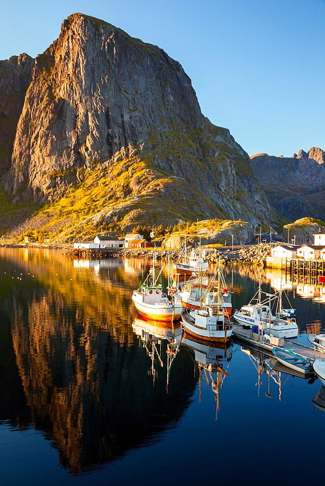 Boats, Port, Fjord, Sunset, Hamnoya, Moskenesoya, Lofoten, North, Norway