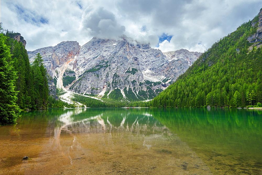 Reflection, Lago Di Braies, Lago Di Braies, Seekofel, Dolomites, Alps, Italy, Europe - 1113-102843