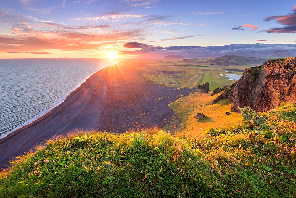 Sun, Sunset, Beach, Cliffs, Klifandi, Dyrholaey, Iceland, Europe