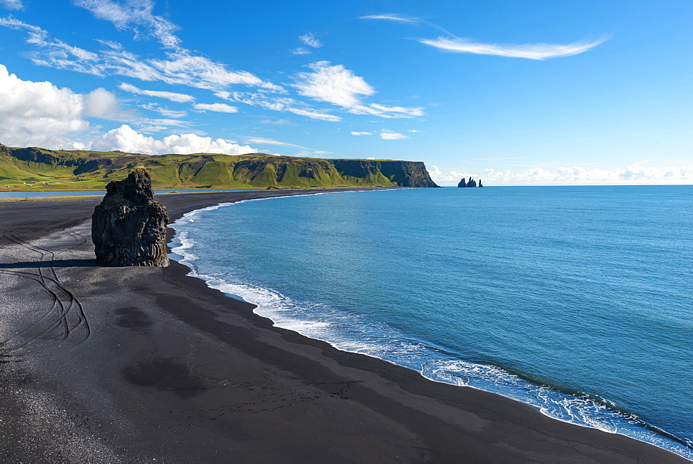 Blue Sky, Summer, Beach, View, Reynisfjara, Dyrholaey, Iceland, Europe