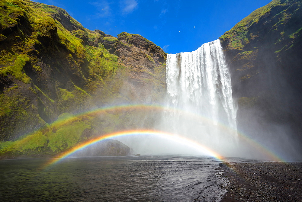 Skogarfoss, Skogar, Waterfall, Rainbow, Cliffs, Iceland, Europe