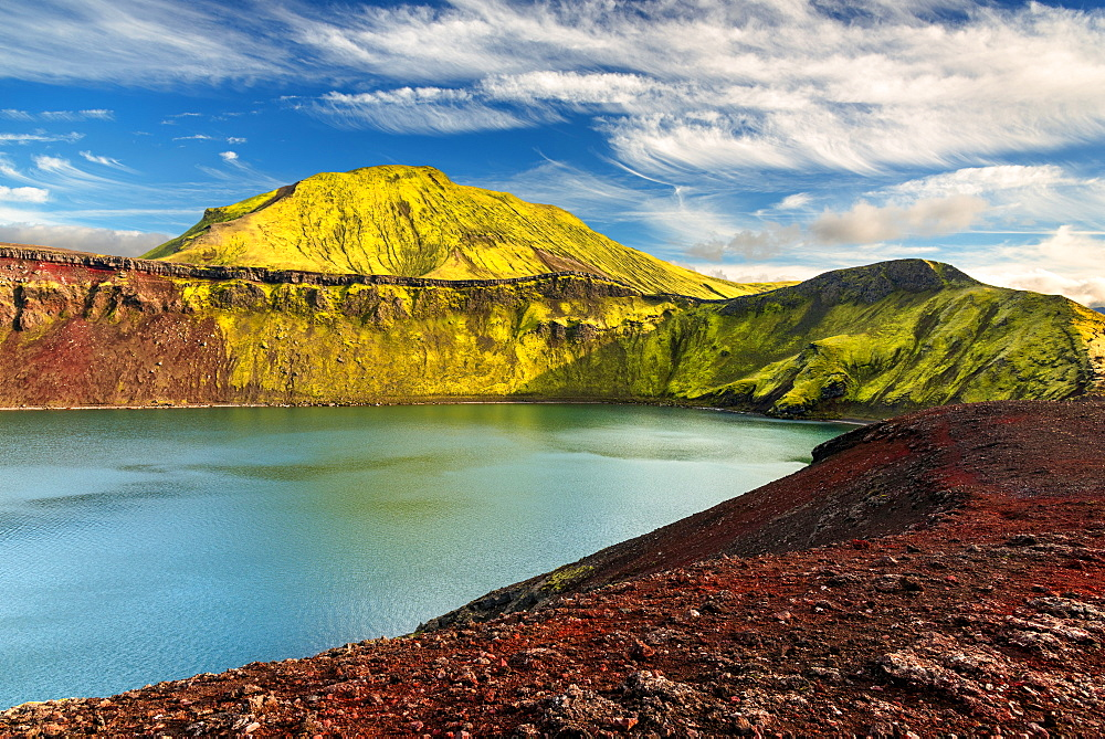 Hnauspollur, Crater, Lake, Mountains, Rhylolite, Volcano, Iceland, Europe