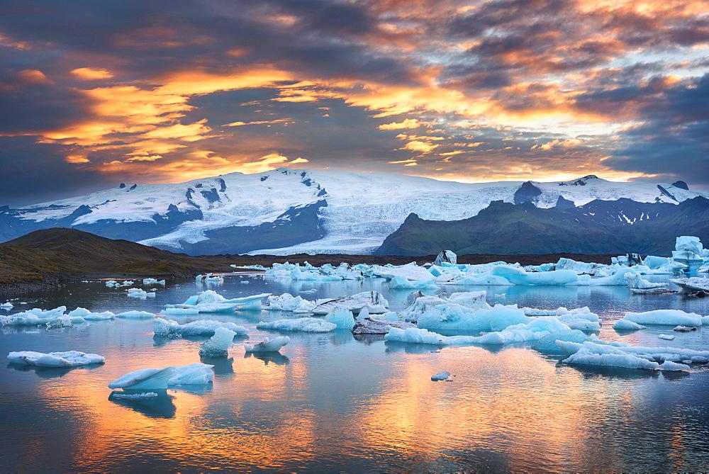 Sunset, Joekulsarlon, Glacier, Bay, Mountains, Iceland, Europe