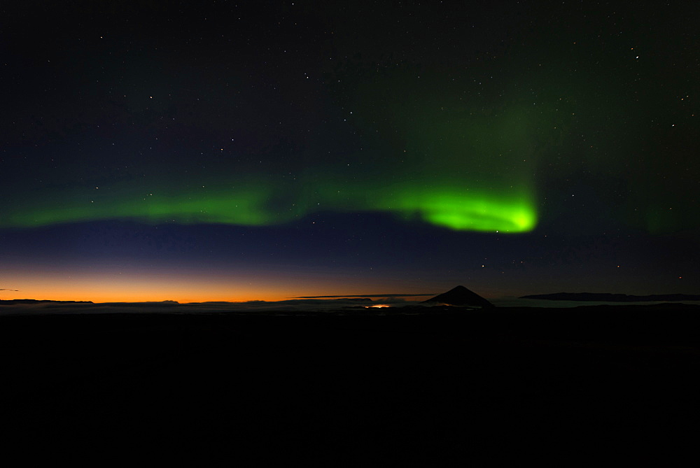 Northern Lights, Aurora Borealis, Sunset, Myvatn, Iceland, Europe