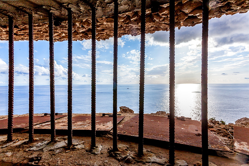 Inside the bunker Mirador del Aguila close to the lighthouse of Cap Blanc, Mallorca, Balearic Islands, Spain