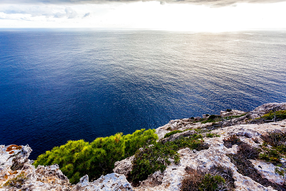 View from the terrace of the lighthouse Cap Blanc, Mallorca, Balearic Islands, Spain