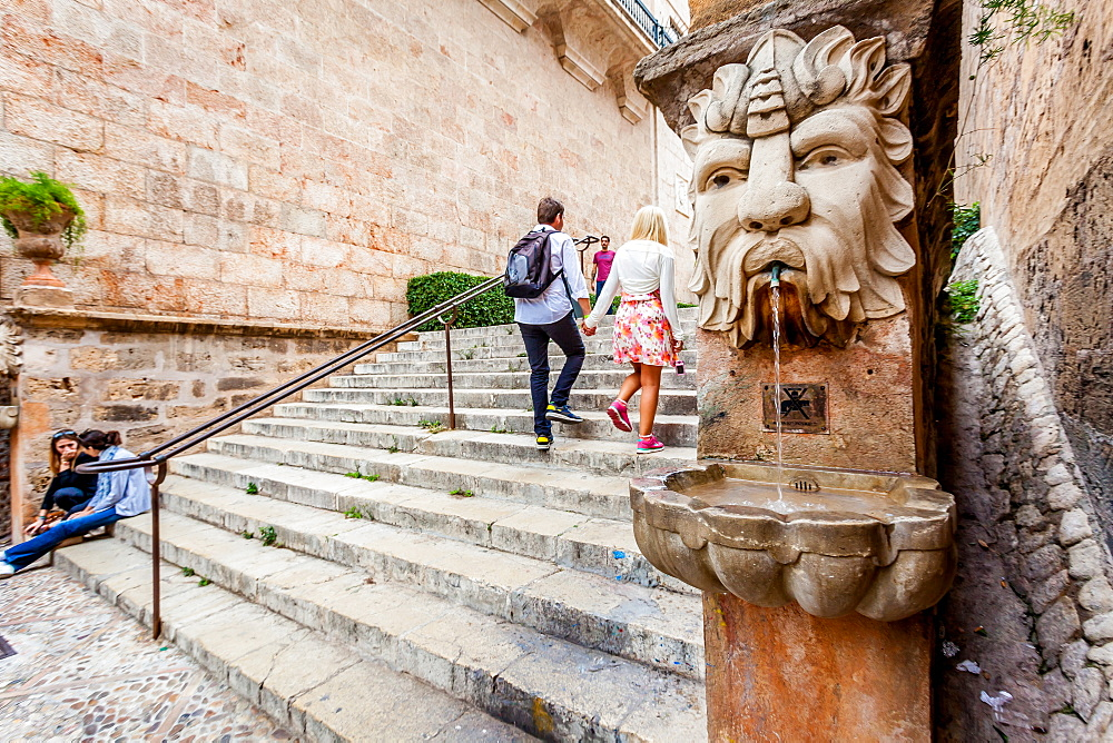 Stairs leading up to the Palma Cathedral, la Seu. On left Palau March, right Almudaina Castle, Palma Old town, Palma de Mallorca, Majorca, Balearic Islands, Mediterranean Sea, Spain, Europe