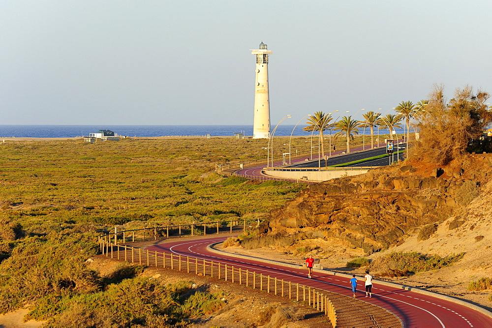 Bicycle path to the lighthouse, Jandia, Playa del Matorral, Jandia Peninsula, Fuerteventura, Canary Islands, Atlantic Ocean, Spain