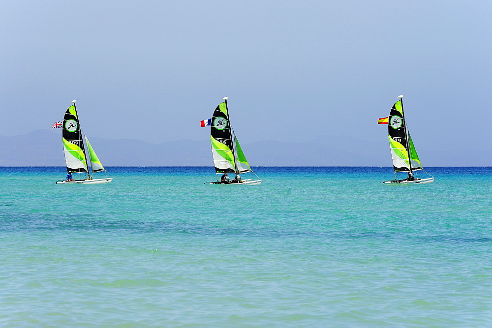 Three sailing boats, Jandia, Playa del Matorral, Jandia Peninsula, Fuerteventura, Canary Islands, Atlantic Ocean, Spain