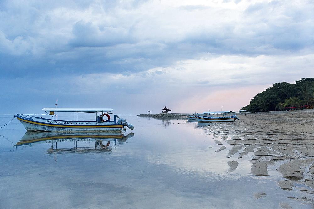 Fishing boat at beach, Sanur, Denpasar, Bali, Indonesia