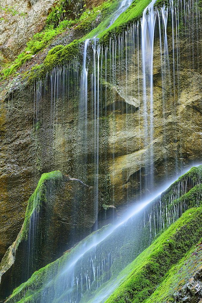 Waterfall, Wimbachklamm, National Park Berchtesgaden, Berchtesgaden, Berchtesgaden range, Upper Bavaria, Bavaria, Germany