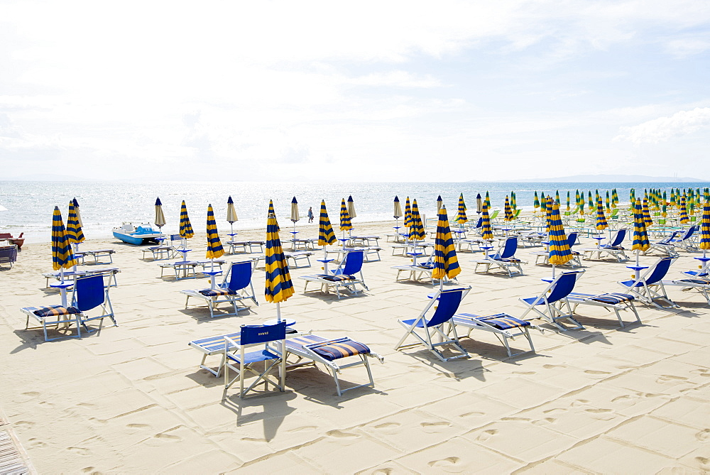 Beach chairs and beach, Follonica, province of Grosseto, Tuscany, Italy