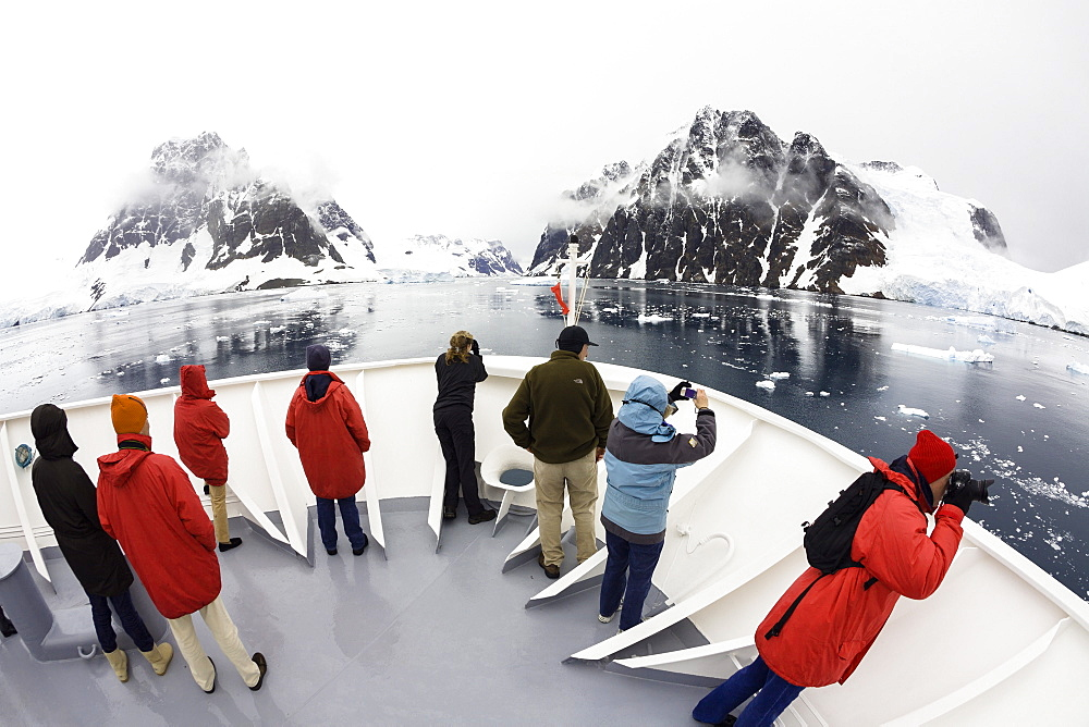 Cruiseship in Lemaire Channel, Graham Land, Antarctic Peninsula, Antarktica