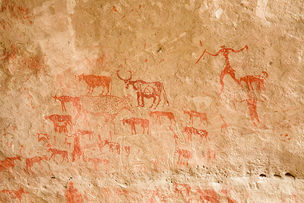 Prehistoric Rock Art, Tadrart Valley, Akakus mountains, Libya, Sahara, North Africa