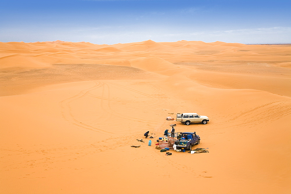 Camp in the libyan desert, Libya, Sahara, North Africa