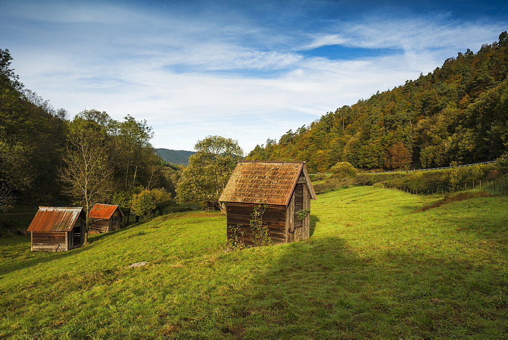 Huts near Gernsbach, Murg valley, district of Rastatt, Black Forest, Baden-Wuerttemberg, Germany