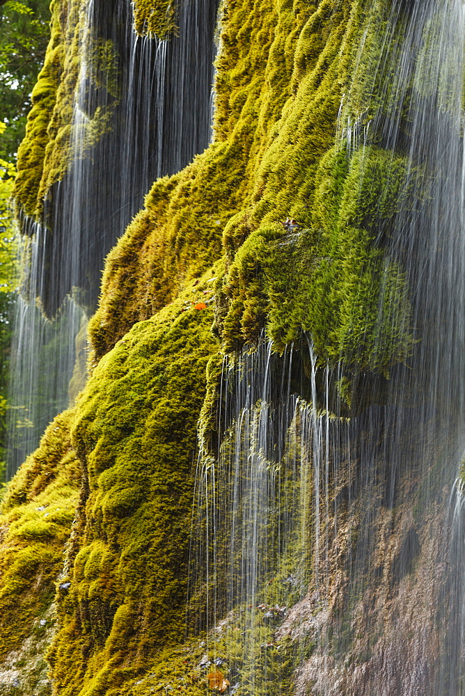 Schlererfaelle waterfall with moss, gorge of the Ammer river, near Saulgrub, district Garmisch-Partenkirchen, Bavarian alpine foreland, Upper Bavaria, Bavaria, Germany, Europe