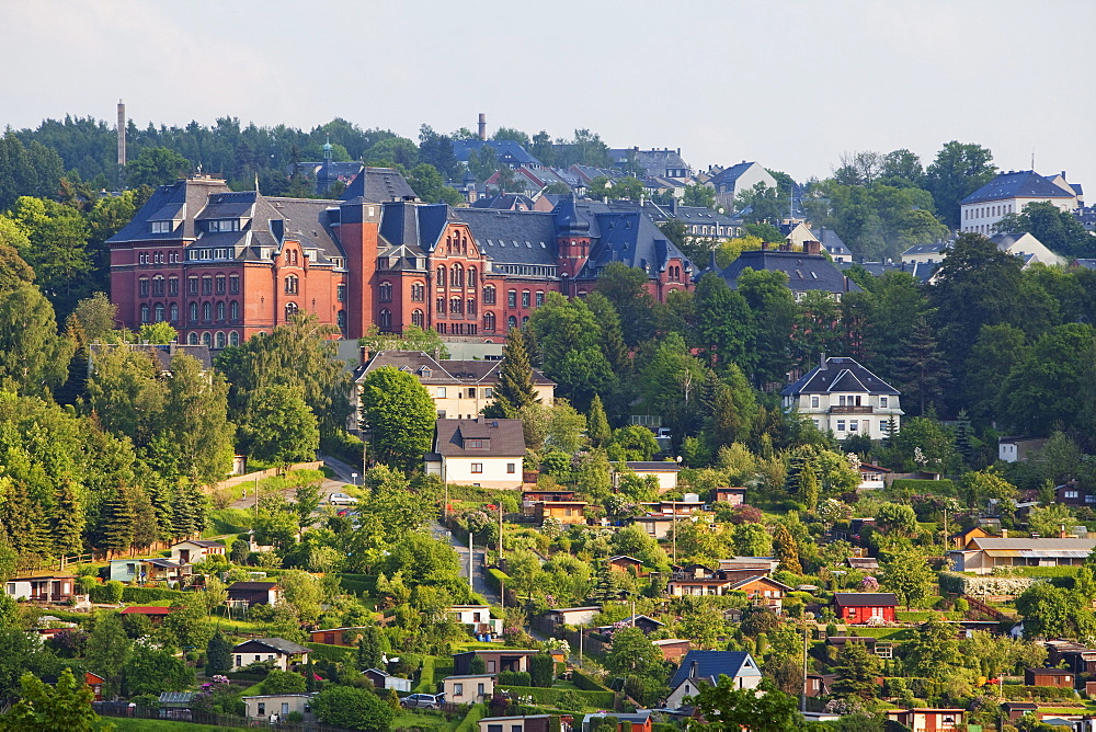 Cityscape with allotments, Annaberg-Buchholz, Ore mountains, Saxony, Germany