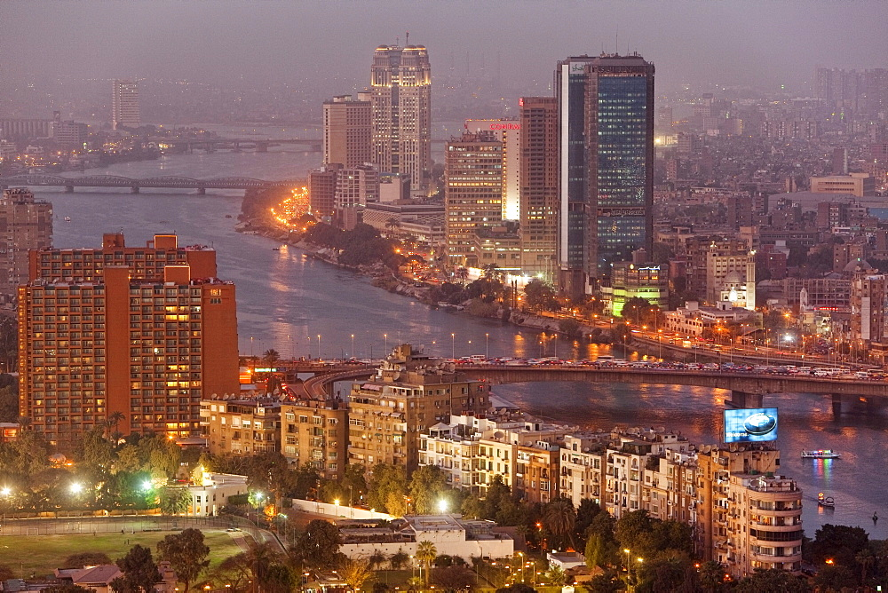 View at the high rise buildings of Zamalek district on the island of Gezira in the evening, Cairo, Egypt, Africa