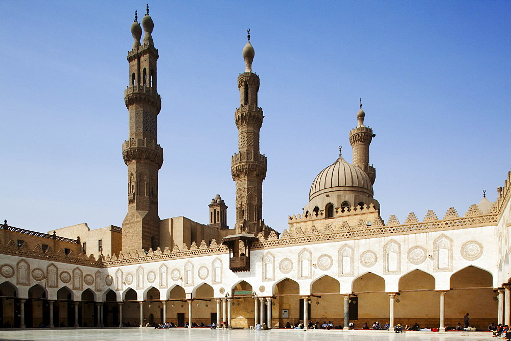 Courtyard of Al Azhar mosque under blue sky, Cairo, Egypt, Africa