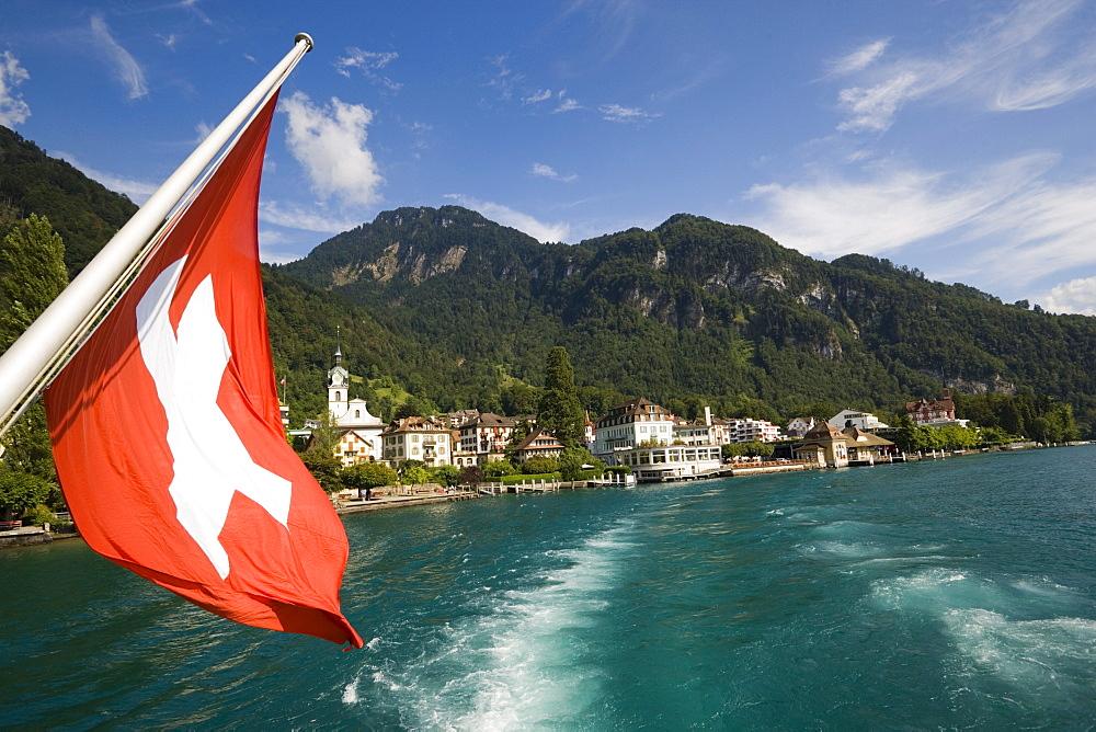 Paddle steamer leaving Vitznau at Lake Lucerne, Canton of Lucerne, Switzerland - 1113-103768
