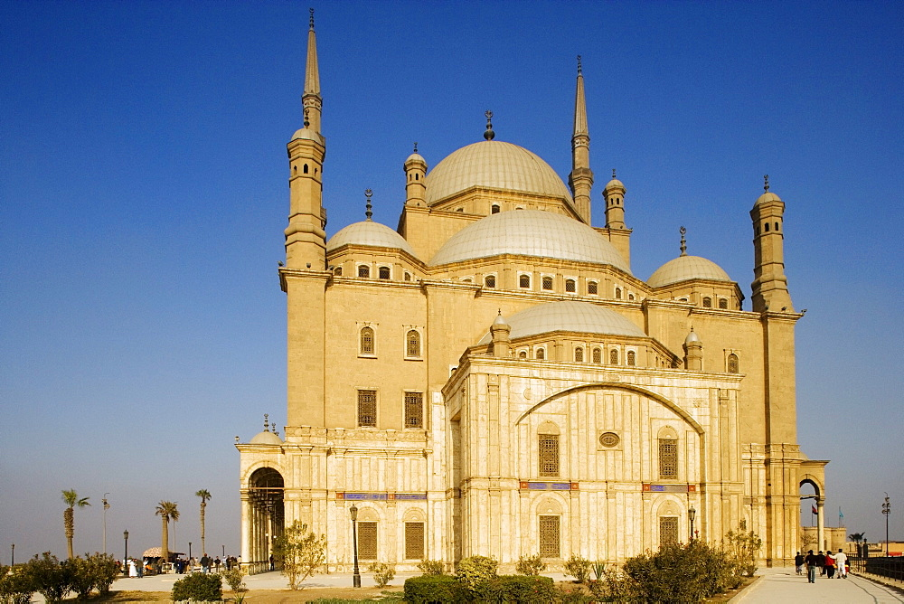 The mosque of Muhammad Ali at the citadel under blue sky, Cairo, Egypt, Africa