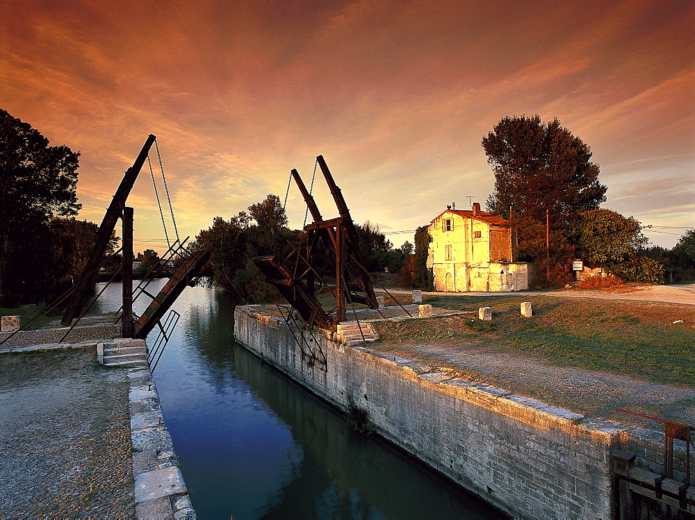 Pont Van Gogh bridge in the afterglow, Bouches-du-Rhone, Provence, France, Europe - 1113-103968