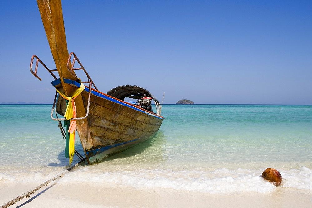Longtail Boat & Coconut, Ko Lipe, Tarutao Marine National Park, Thailand - 1113-104131